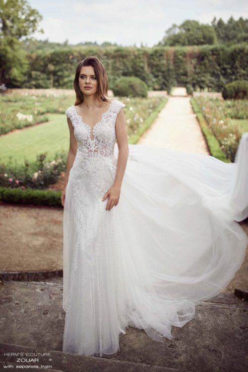 suknia slubna herms bridal couture Zouar with separate train